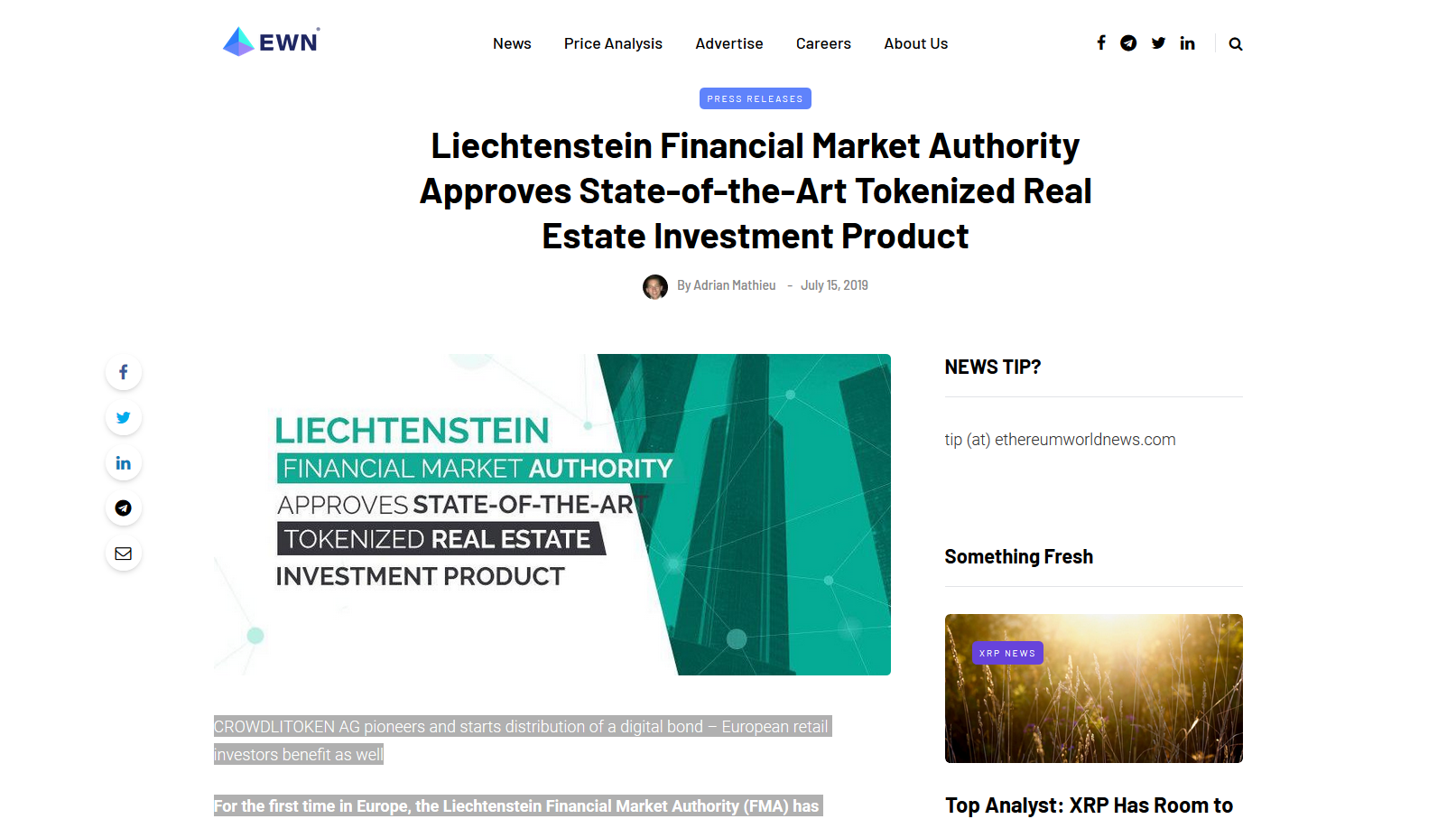 """Read more about the article Article on the """"newsbtc.com"""" platform of 15 July 2019"""