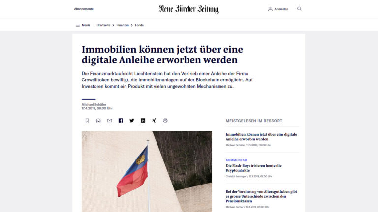 Background story CROWDLITOKEN in the NZZ