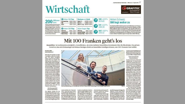 Bericht zur FMA Bewilligung im «Liechtensteiner Vaterland»