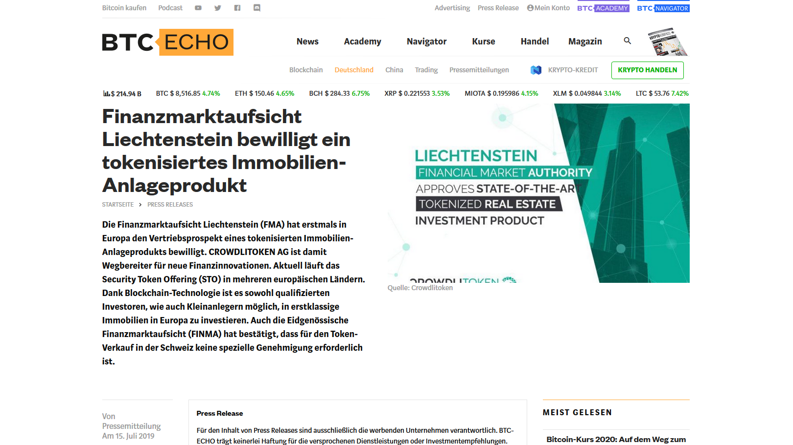 """Read more about the article Article on the """"btc-echo.de"""" platform of 15 July 2019"""