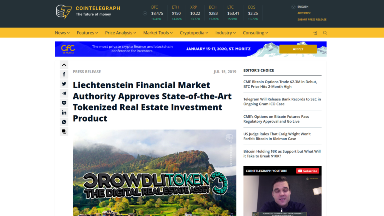 "Article on the ""cointelegraph.com"" platform of 15 July 2019"