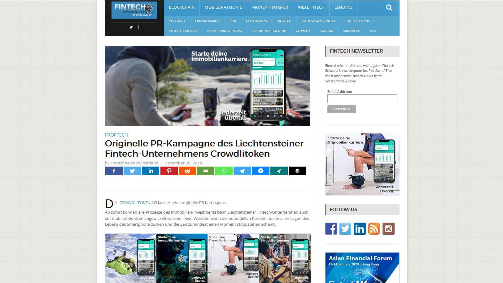 Artikel auf Fintech News zur PR-Kampagne «Jederzeit. Überall.»