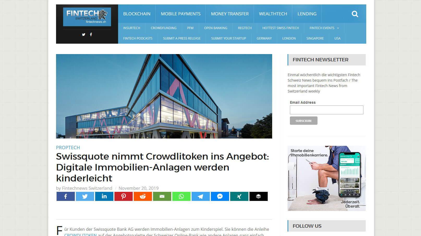 Bericht zur Swissquote-Partnerschaft auf Fintech News