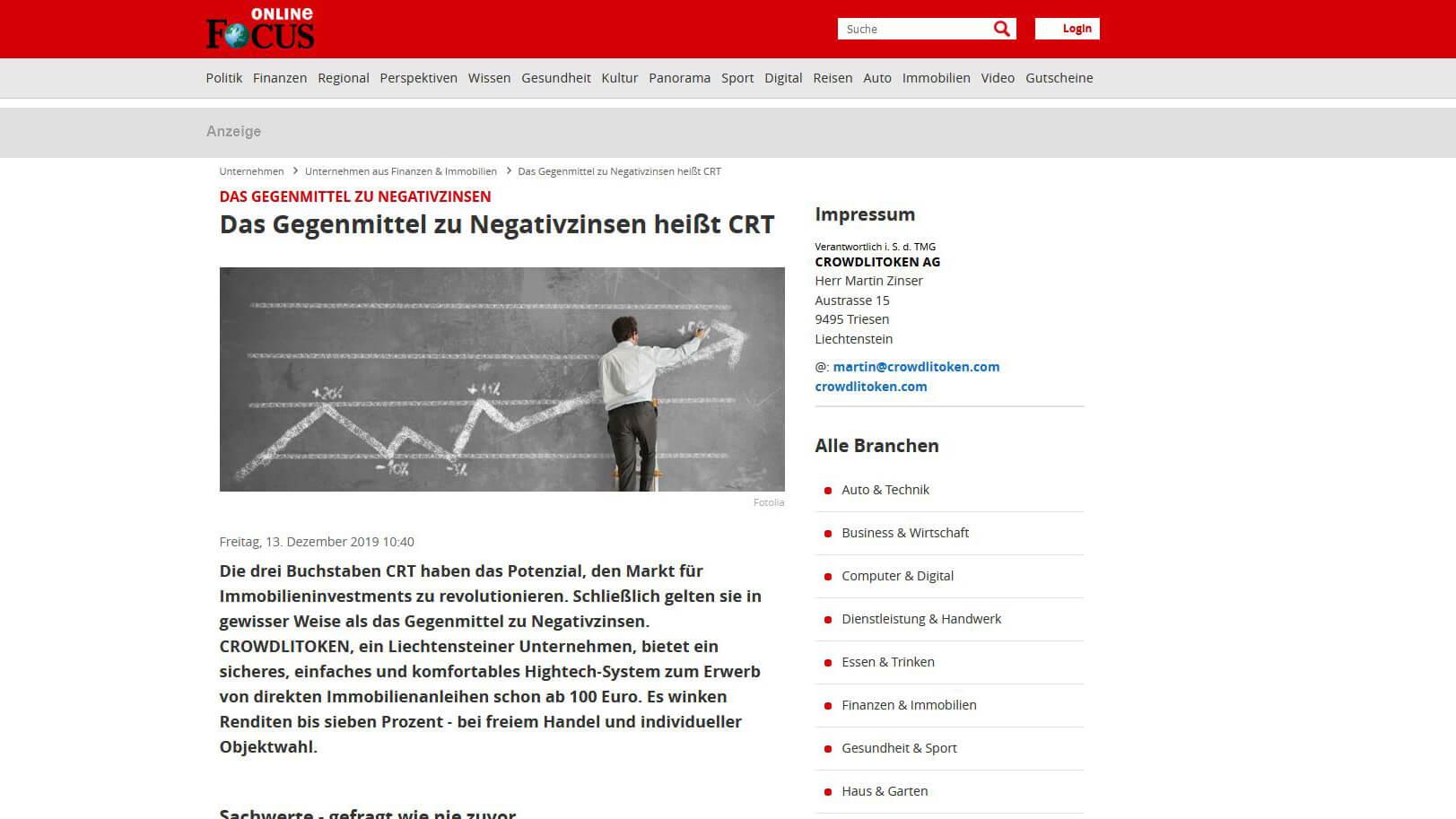 Bericht auf Focus online über CRT