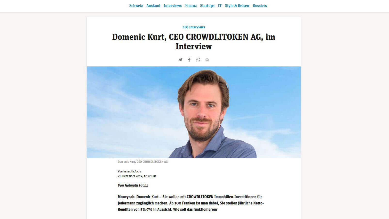 Interview mit CEO Domenic Kurt auf Moneycab