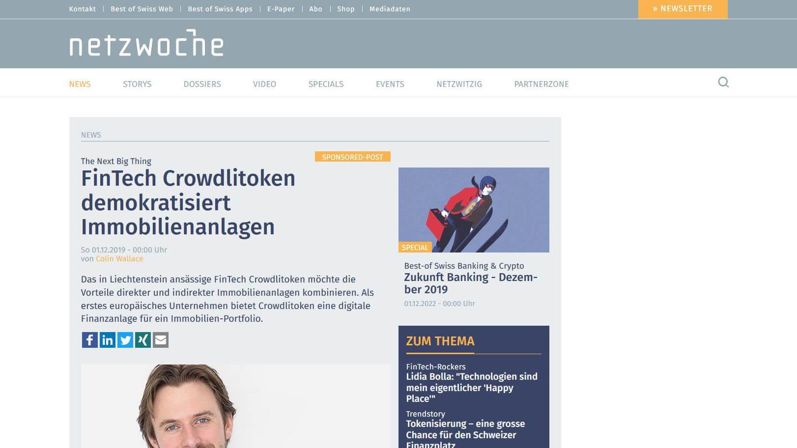 """Bericht in der Beilage """"ZukunftsBanking"""" der Sonntagszeitung"""