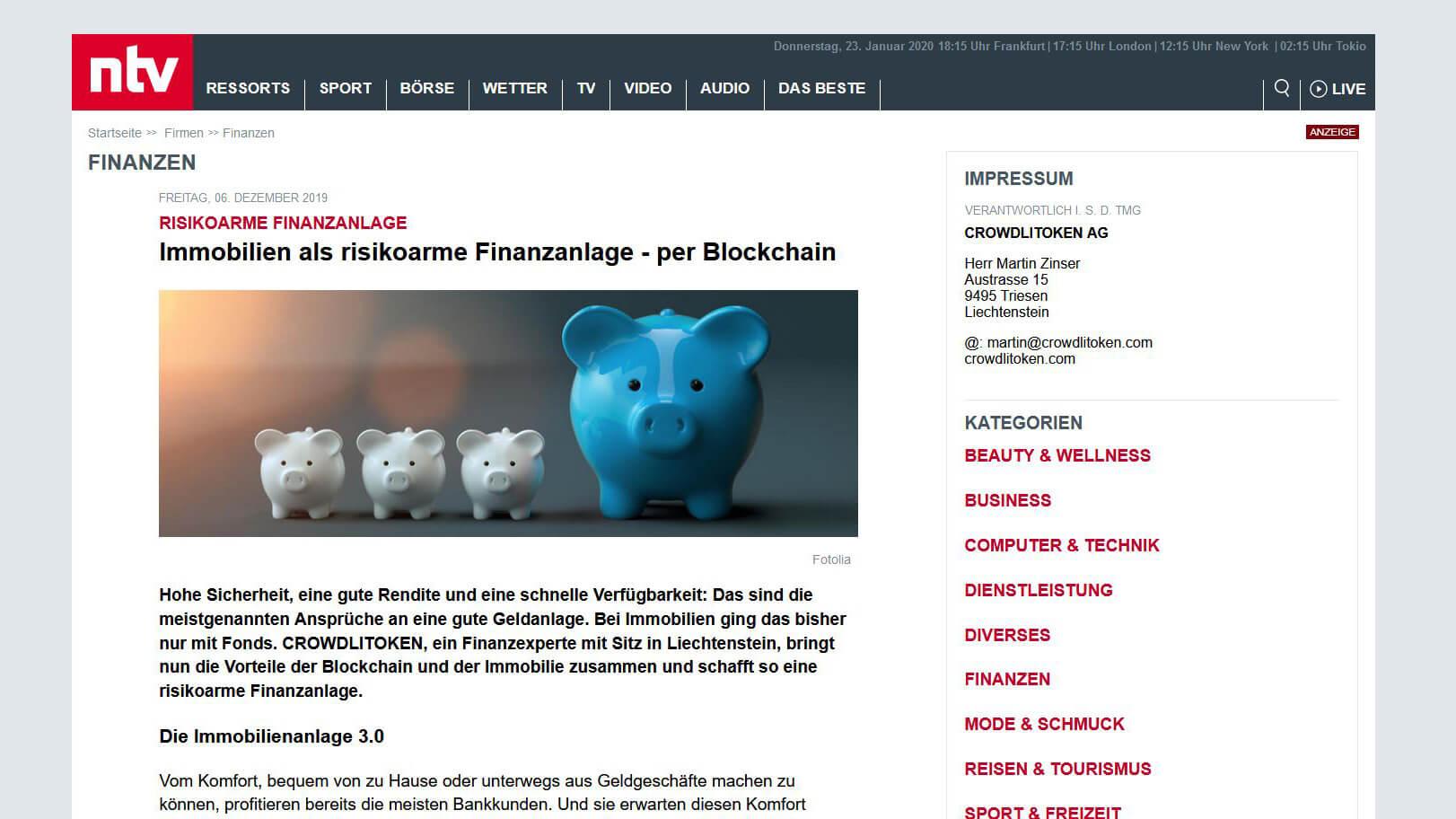 Bericht auf der ntv-Plattform