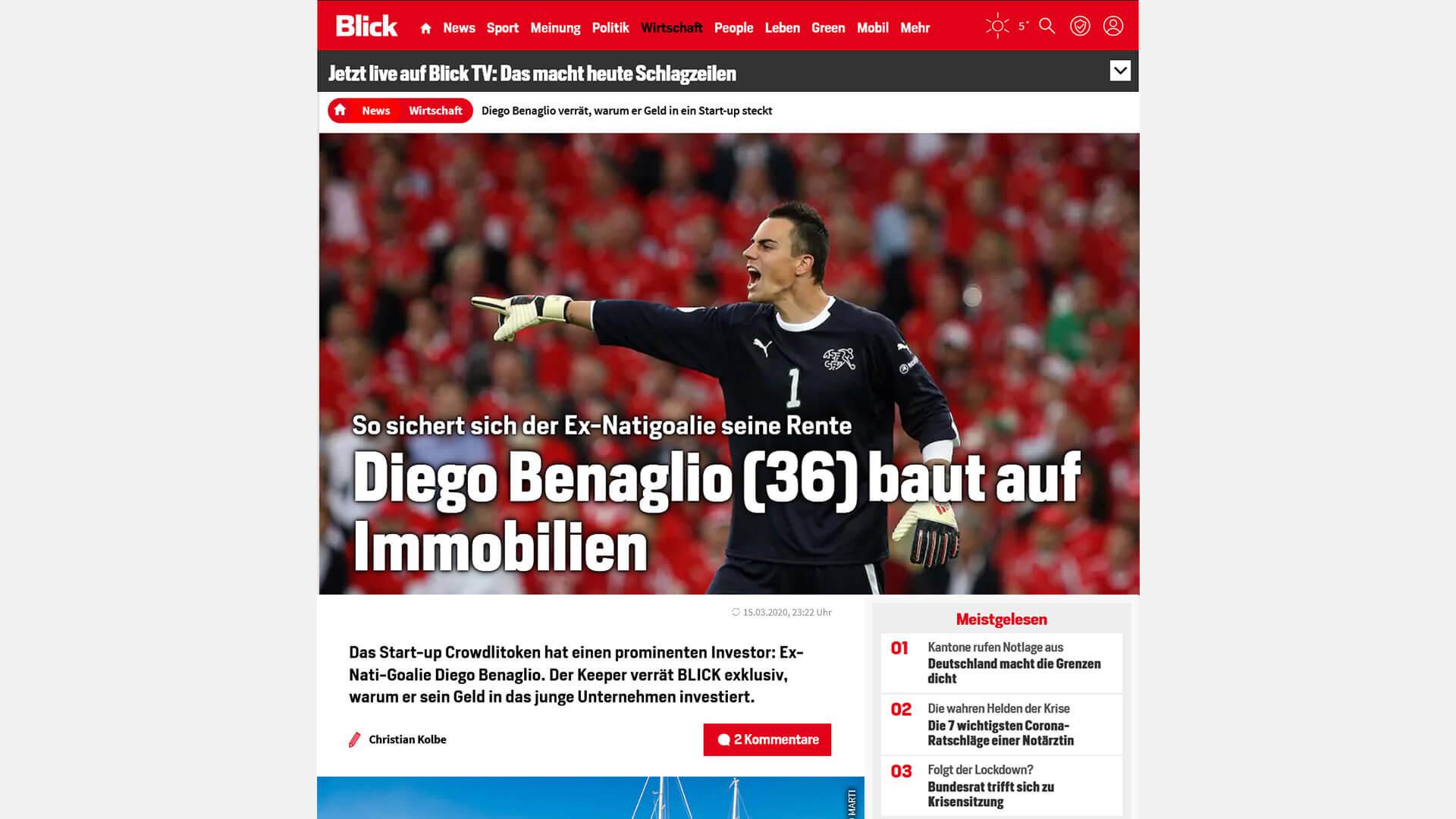 Diego Benaglio empfiehlt CROWDLITOKEN auf blick.ch