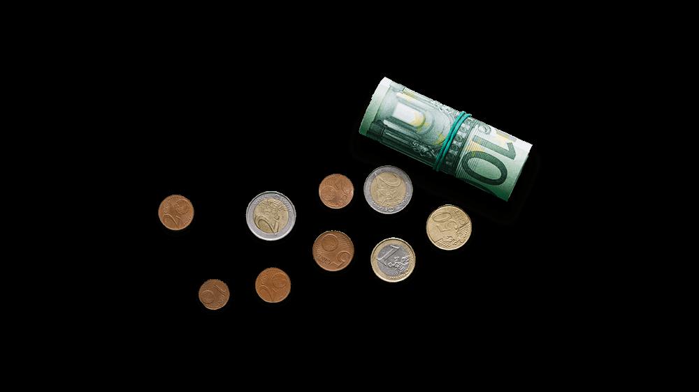 Illustration Geldnoten und Münzen